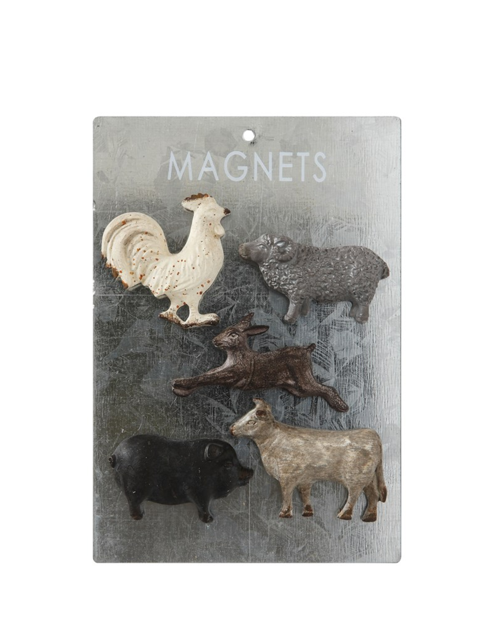 MAGNET SET-FARM ANIMALS, PEWTER, 5PC