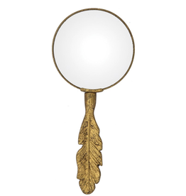 MAGNIFYING GLASS,-PEWTER W/ FEATHER HANDLE, GOLD FIN 8 3/4""