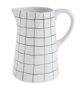 PITCHER-STONEWARE, WHITE WITH BLACK GRID