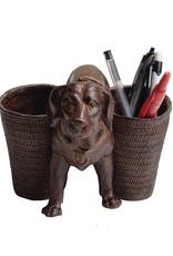 "PENCIL HOLDER-RESIN-DOG, BROWN, 9"""