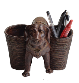 PENCIL HOLDER-RESIN-DOG, BROWN, 9""