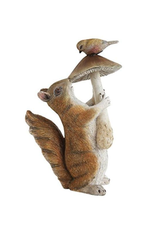 SCULPTURE-RESIN SQUIRREL,  HOLDING MUSHROOM & BIRD