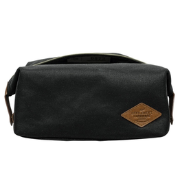 DOPP KIT-WAXED CANVAS-ZIPPED CHARCOAL WITH BROWN LEATHER EFFECT