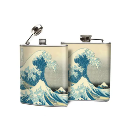 FLASK-JAPANESE WAVES, STAINLESS STEEL