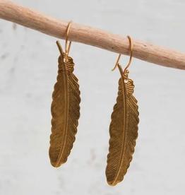 EARRINGS-BRASS-GOLD FEATHER