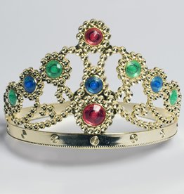 CROWN-QUEEN, GOLD W/JEWELS, ADJUSTABLE