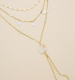 NECKLACE-WHITEHAVEN, LAYERED CHAIN, WHITE RESIN, GOLD