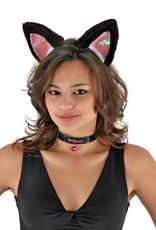 ANIMAL SET-CAT EARS, COLLAR, & TAIL, BLACK/PINK