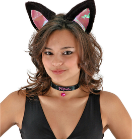 ANIMAL KIT-CAT EARS, COLLAR, & TAIL, BLACK/PINK