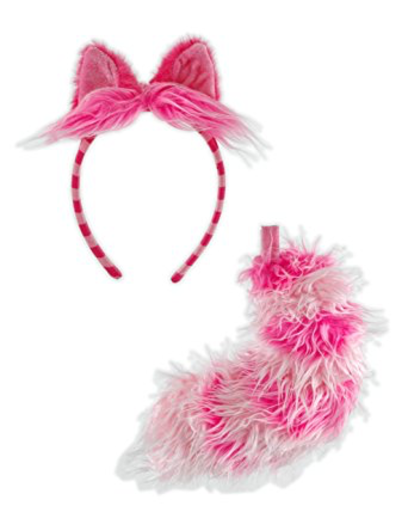 ANIMAL SET-CHESHIRE CAT-EARS & TAIL, DKPINK