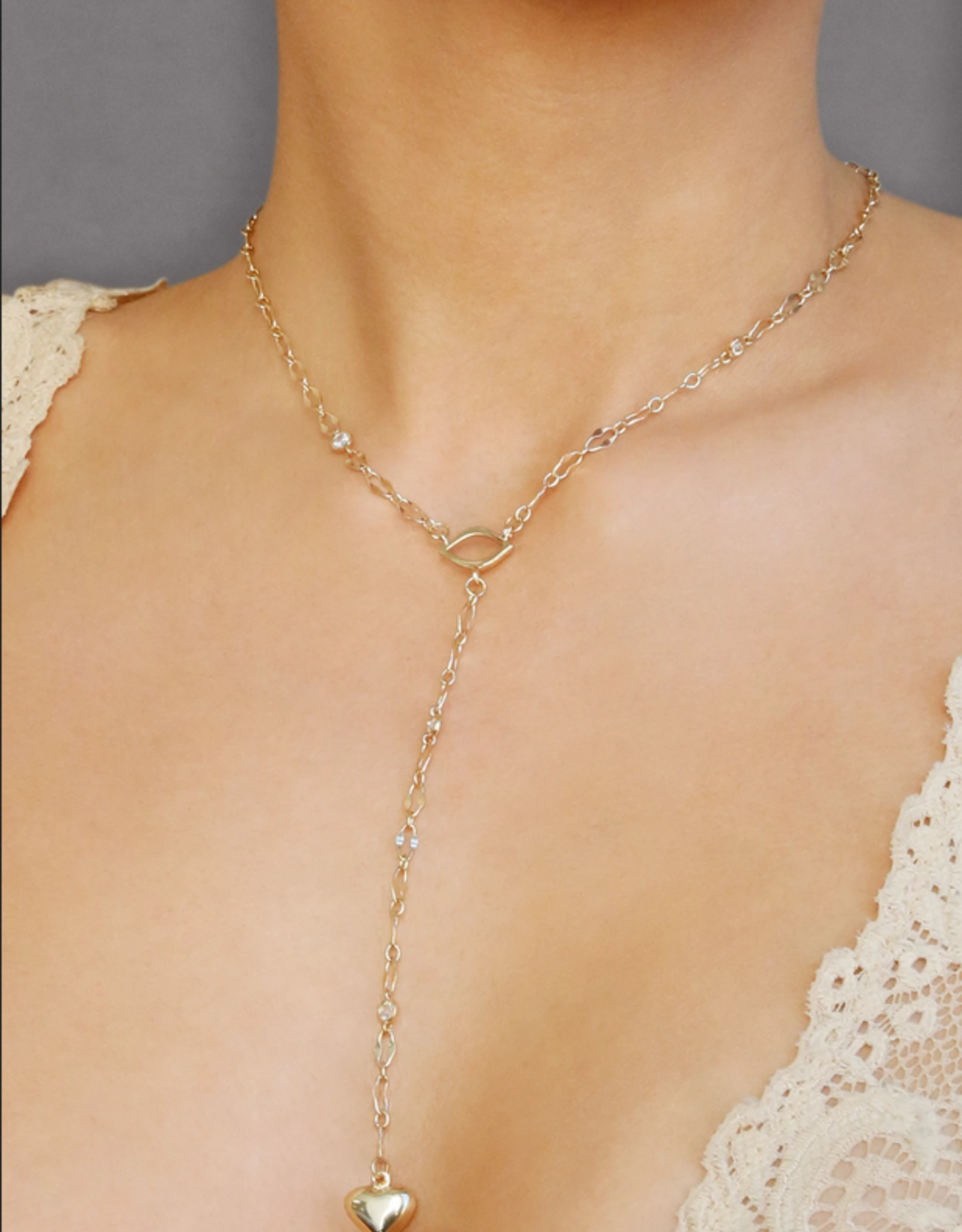 NECKLACE-LARIAT, HEART & LIPS, GOLD