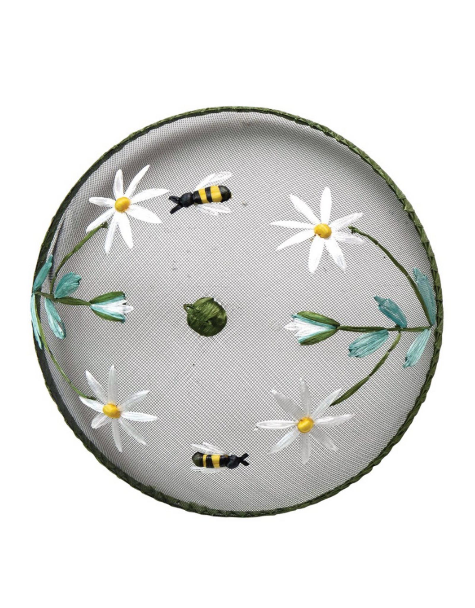 FOOD COVER-METAL-EMBROIDERED BEES & FLOWERS, 14""