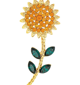 Rain Jewelry Collection PIN-GOLD TOPAZ CRYSTAL SUNFLOWER