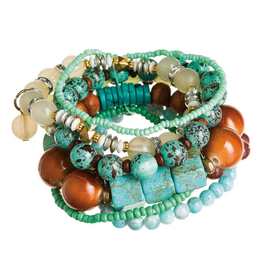 Rain Jewelry Collection BRACELET-BROWN & TURQUOISE MIXED BEAD SET