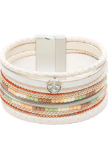 Rain Jewelry Collection BRACELET-SILVER WHITE NATURAL BEAD MAGNETIC