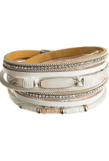 Rain Jewelry Collection BRACELET-SILVER IVORY GEM LEATHER