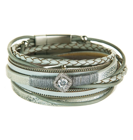 Rain Jewelry Collection BRACELET-ICY GREY FAUX LEATHER WITH PEARL & CRYSTAL