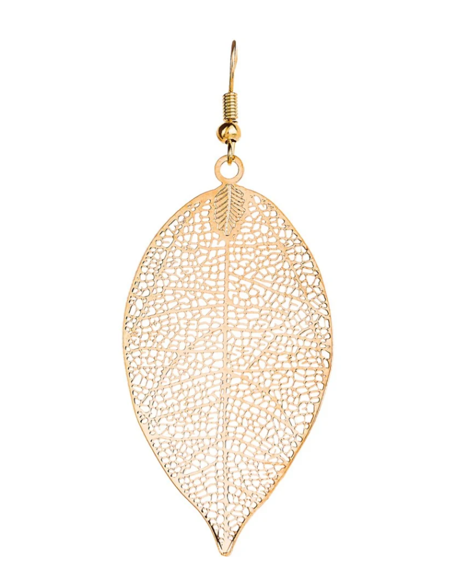 Rain Jewelry Collection EARRINGS-GOLD MESH LEAF