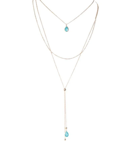 Rain Jewelry Collection NECKLACE-GOLD AQUA HIGH LOW DELICATE