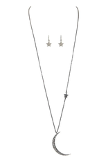 Rain Jewelry Collection NECKLACE SET-HEMATITE CRYSTAL CRESCENT MOON