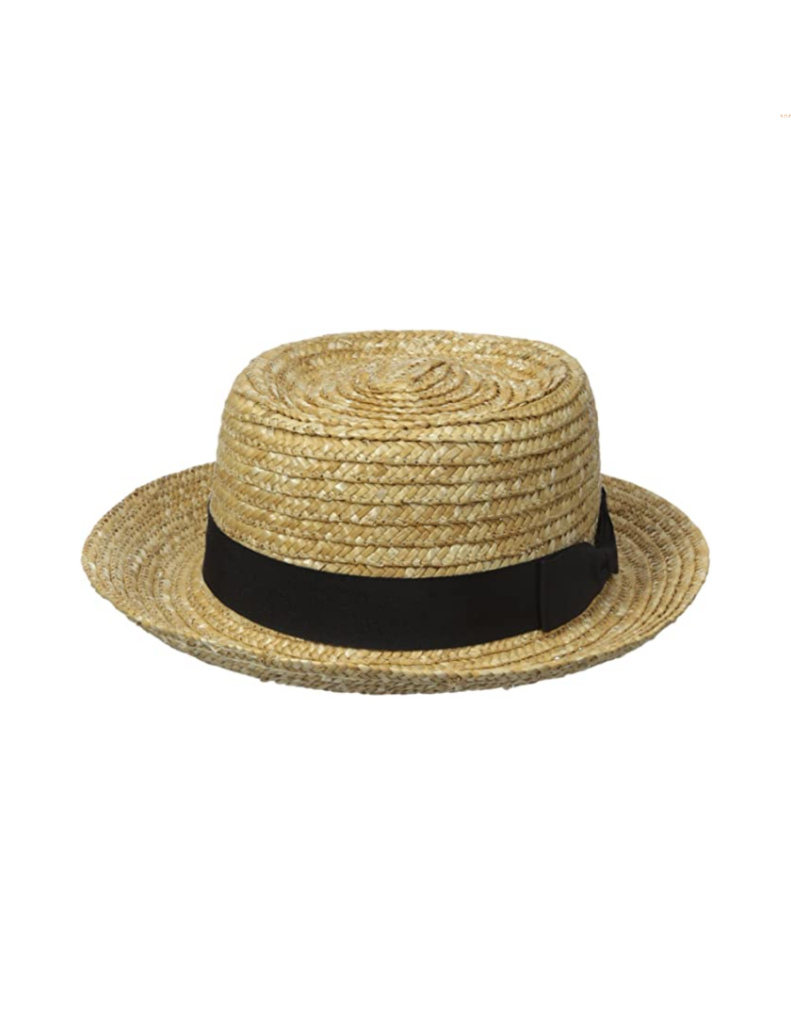 HAT-WOMENS-BOATER, STRAW, BLACK BAND, NATURAL