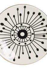 "PLATE-BLACK PATTERN W/GOLD-ROUND-STONEWARE 5-1/4"""