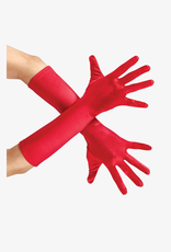 GLOVES-ELBOW LENGTH, SATIN, RED