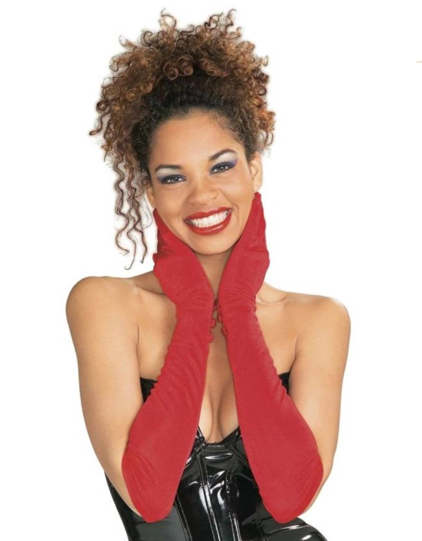 GLOVES-XL SHOULDER LGTH, NYLON W BUTTONS, RED, D