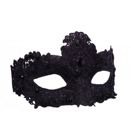 KBW Global Corp MASK-BLACK LACE W/ BLACK GEMS