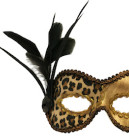 MASK-CHITA, GOLD W/ LEOPARD PRINT, SIDE FEATHERS & JEWEL