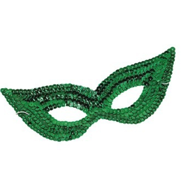 MASK-SEQUIN HARLEQUIN,GREEN