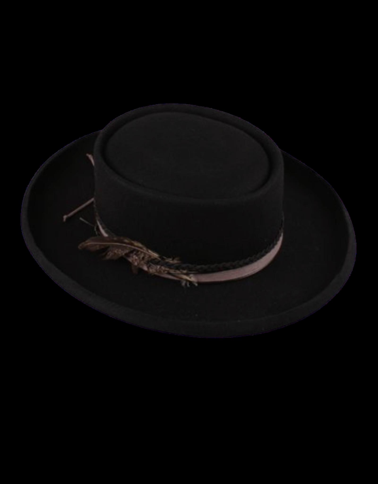 """HAT-GAUCHO, 3.25"""" FLAT BRIM BLACK"""