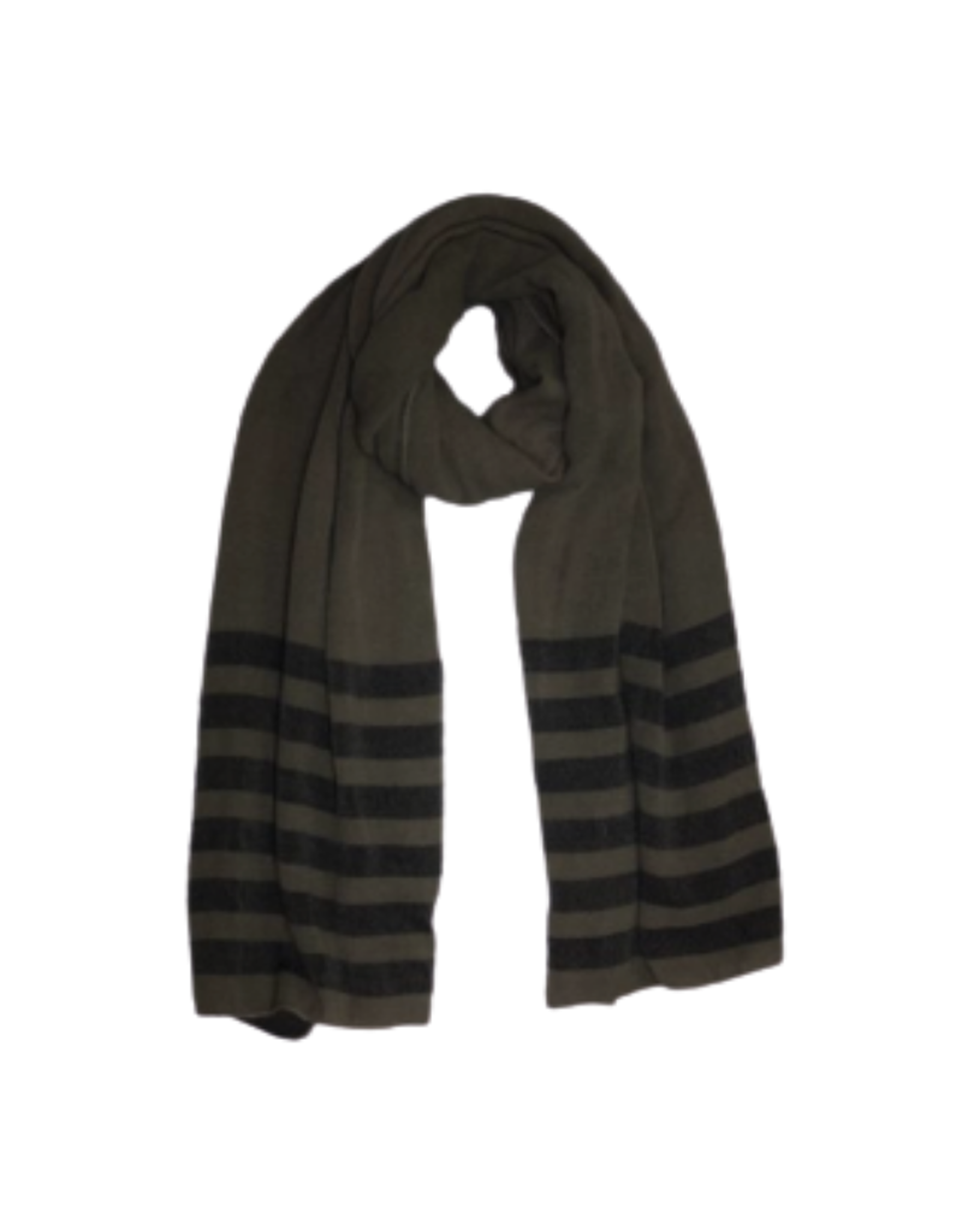 SCARF-GREY WBLK STRIPED ENDS