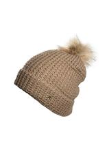 HAT-KNIT BEANIE W/POM- W/CUFF, CLAUDIA