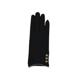 GLOVES-FASHION-BLACK W GOLD TRIM EDGE W/BUTTONS BLACK