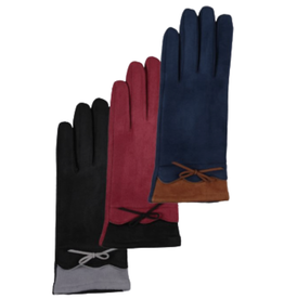 GLOVES-FASHION-FAUX SUEDE ACCENT TRIM WBOW