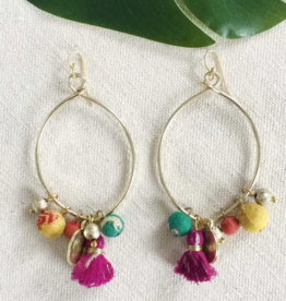 Faire/WorldFinds EARRINGS-KANTHA CHARM HOOPS