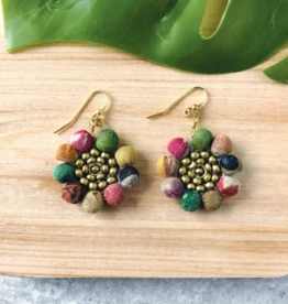 Faire/WorldFinds EARRINGS-KANTHA SUNFLOWER