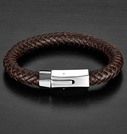 BRACELET-CRUCIBLE MENS BRAIDED LEATHER, BROWN SILVER