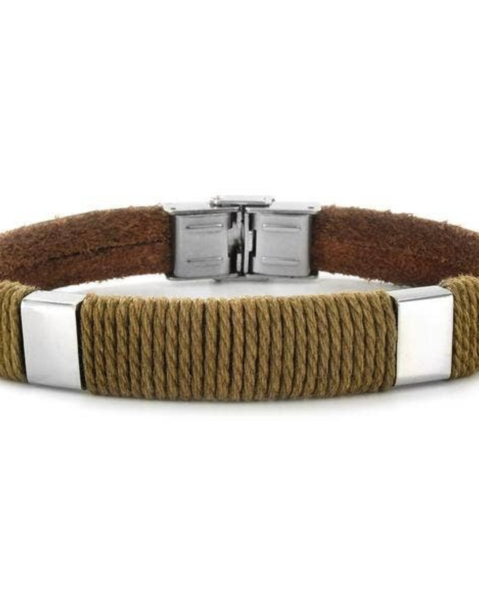 BRACELET-CRUCIBLE ACCENT TWISTED ROPE LEATHER BLK/BRN