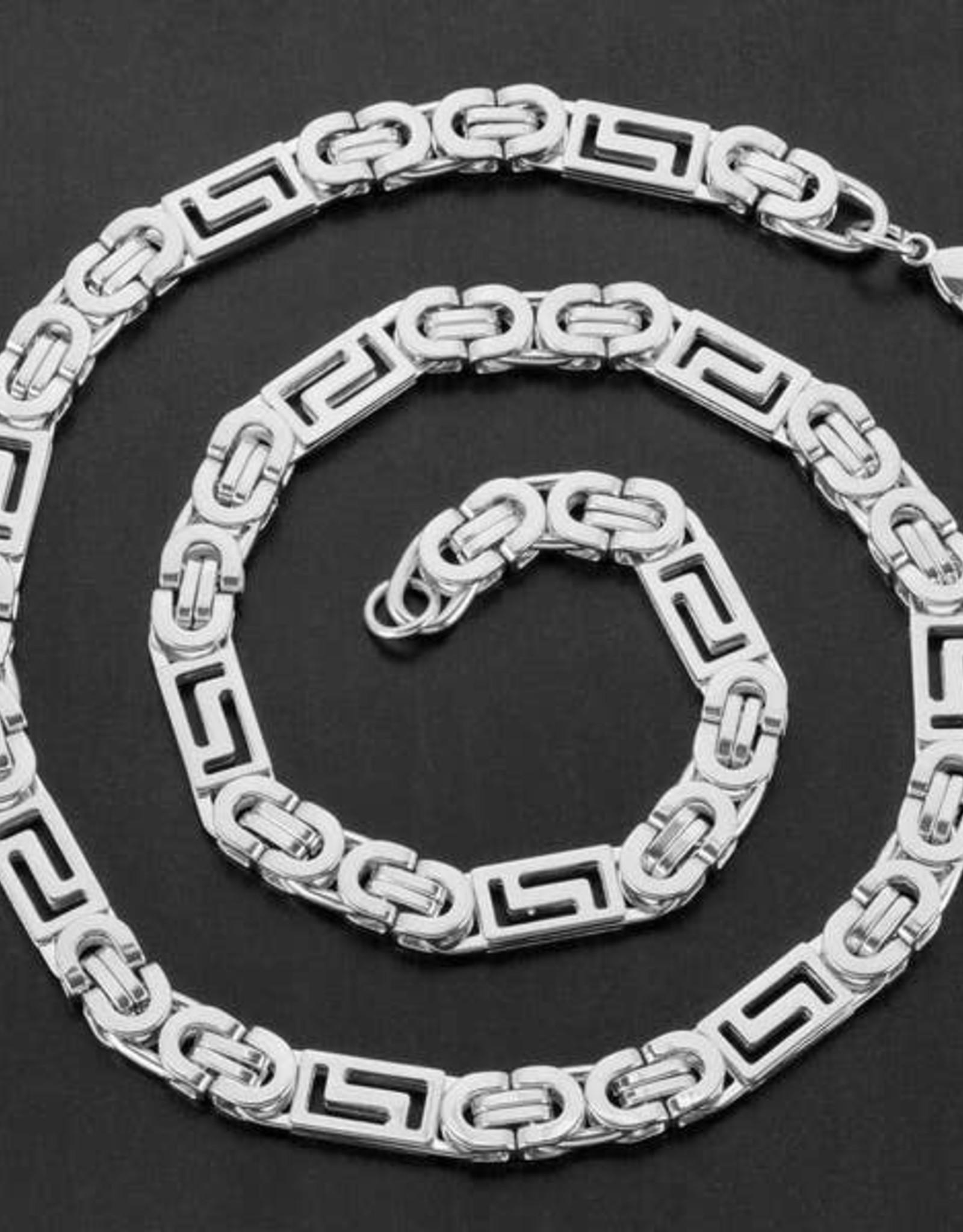 NECKLACE-CRUCIBLE GREEK KEY FLAT BYZANTINE CHAIN, SILVER