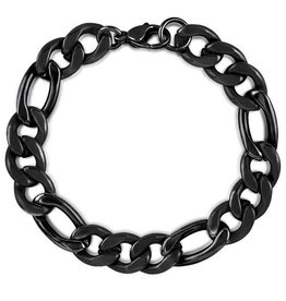 BRACELET-CRUCIBLE MEN'S POLISHED FIGARO, BLACK