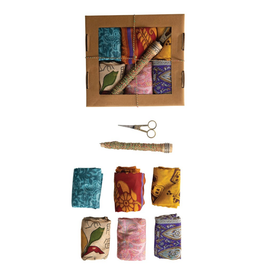 GIFT WRAPPING-VINTAGE SILK SARI FABRIC KIT  (SET OF 8)
