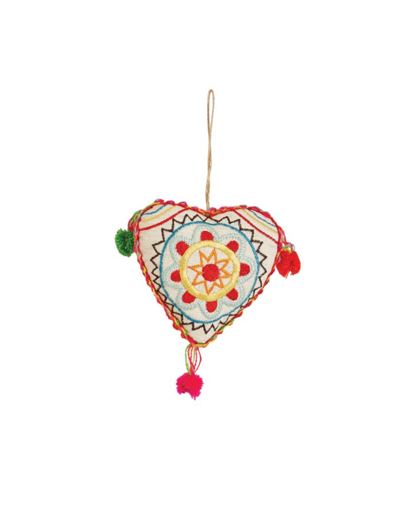 "ORNAMENT-EMBROIDERED 4"" FABRIC HEARTS W/ POM POMS"