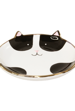 TRAY-PUDGY CAT, BLACK W/GLD SMALL