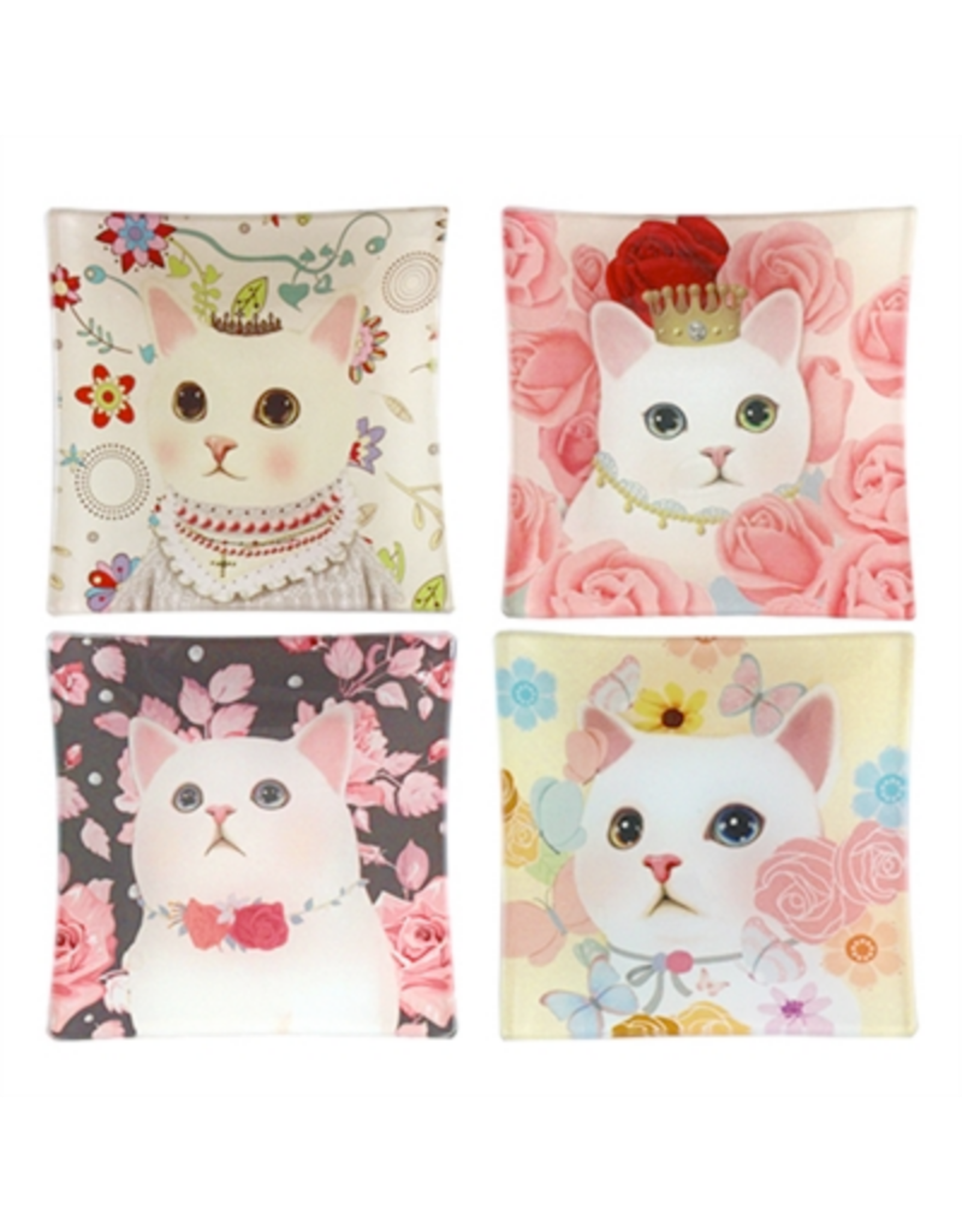 "TRAY-GLASS-ROSY CAT, 3.75"" SQUARE"