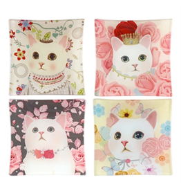 """TRAY-GLASS-ROSY CAT, 3.75"""" SQUARE"""