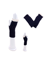 GLOVES-KNIT-FINGERLESS CABLE W/ CROCHETED TRIM