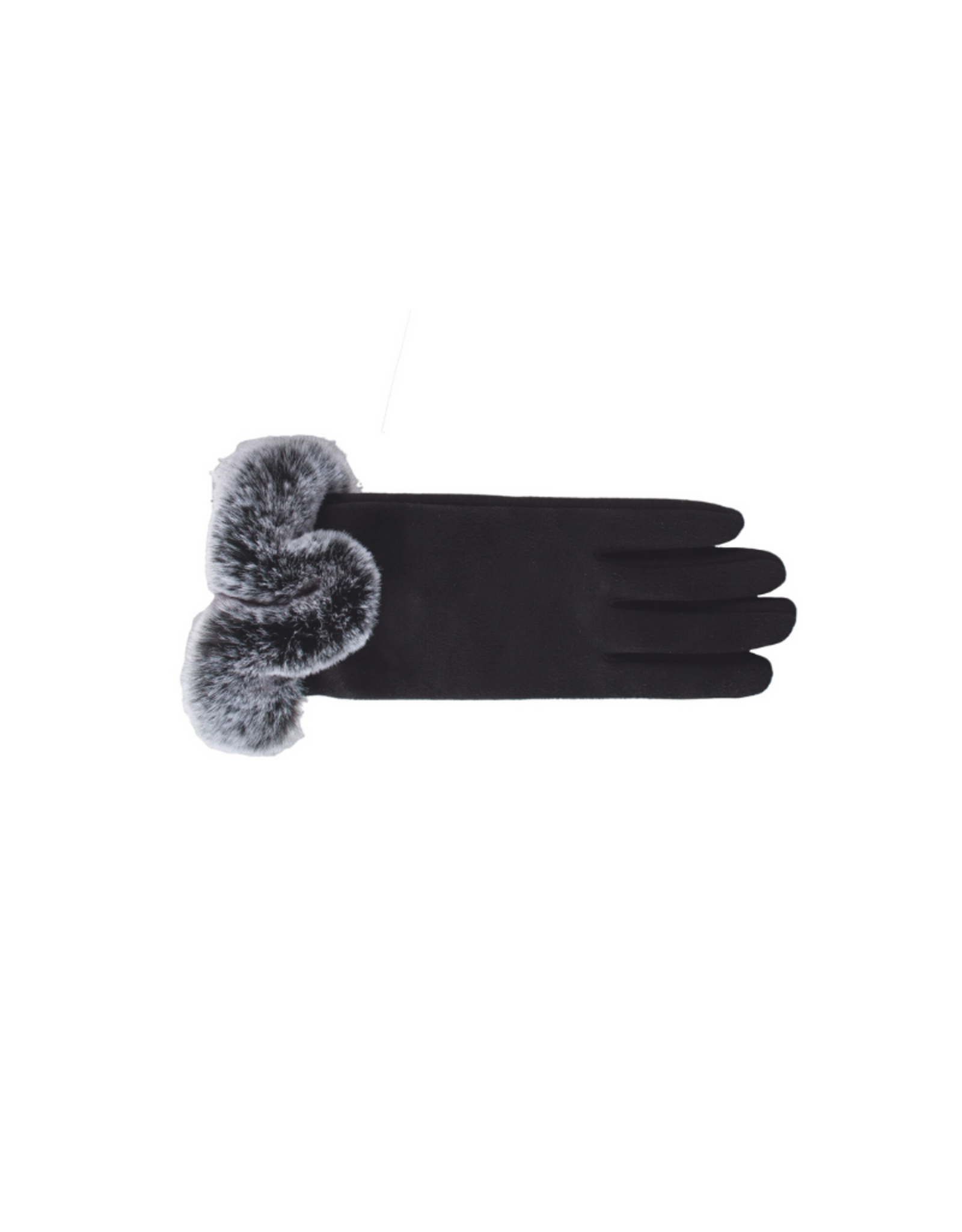 GLOVE-FAUX FUR TRIMMED, BLACK