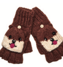GLOVES-KNIT FINGERLESS, PUPPIES, BROWN
